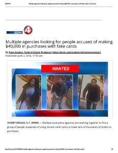 thumbnail of 2016- 06- 02 Multiple agencies looking for people accused of making $40,000 in purchases with fake cards _ wivb