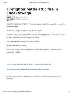 thumbnail of 2016- 07-18 Firefighter battle attic fire in Cheektowaga – WKBW