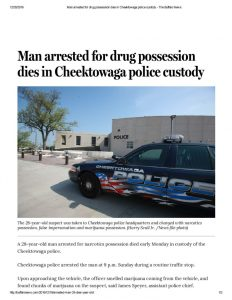 thumbnail of 2016- 12-19 Man arrested for drug possession dies in Cheektowaga police custody – The Buffalo News