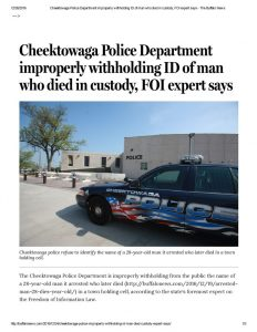 thumbnail of 2016- 12-24 Cheektowaga Police Department improperly withholding ID of man who died in custody, FOI expert says – The Buffalo News