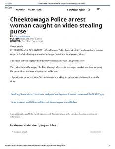 thumbnail of 2016- 12-9 Cheektowaga Police arrest woman caught on video stealing purse – WKBW