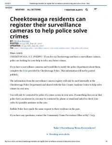 thumbnail of 2017 01-27 Cheektowaga residents can register their surveillance cameras to help police solve crimes – wkbw