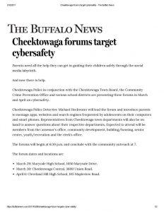 thumbnail of 2017- 03-08 Cheektowaga forums target cybersafety – The Buffalo News