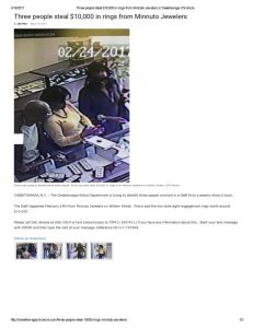 thumbnail of 2017- 03-13 Three people steal $10,000 in rings from Minnuto Jewelers _ Cheektowaga Chronicle