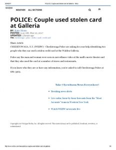 thumbnail of 2017- 03-22 POLICE_ Couple used stolen card at Galleria – WKBW