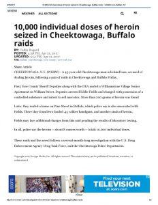 thumbnail of 2017- 04-21 10,000 individual doses of heroin seized in Cheektowaga, Buffalo raids – WKBW