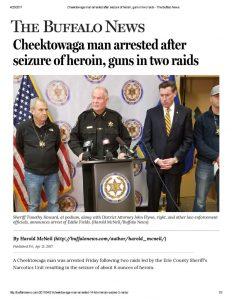 thumbnail of 2017- 04-21 Cheektowaga man arrested after seizure of heroin, guns in two raids – The Buffalo News