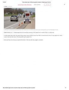 thumbnail of 2017- 04-28 Police setup radar unit following speed complaint _ Cheektowaga Chronicle