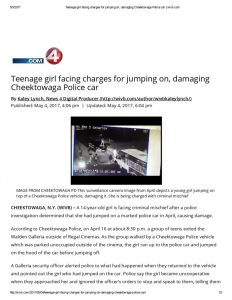 thumbnail of 2017- 05-04 Teenage girl facing charges for jumping on, damaging Cheektowaga Police car _ wivb