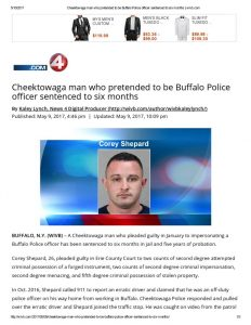 thumbnail of 2017- 05-09 Cheektowaga man who pretended to be Buffalo Police officer sentenced to six months _ wivb
