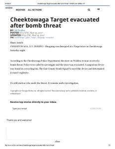 thumbnail of 2017- 05-13 Cheektowaga Target evacuated after bomb threat – WKBW