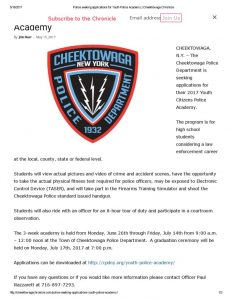 thumbnail of 2017- 05-15 Police seeking applications for Youth Police Academy _ Cheektowaga Chronicle