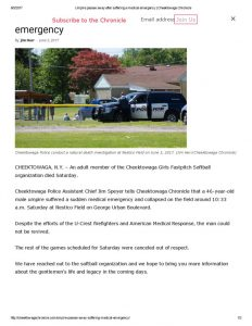 thumbnail of 2017- 06-03 Umpire passes away after suffering a medical emergency _ Cheektowaga Chronicle