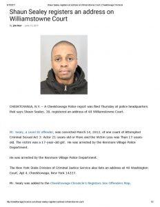 thumbnail of 2017- 06-13 Shaun Sealey registers an address on Williamstowne Court _ Cheektowaga Chronicle