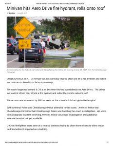 thumbnail of 2017- 06-25 Minivan hits Aero Drive fire hydrant, rolls onto roof _ Cheektowaga Chronicle