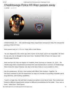 thumbnail of 2017- 06-26 Cheektowaga Police K9 Wazi passes away _ Cheektowaga Chronicle