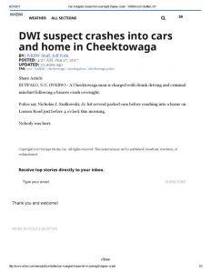 thumbnail of 2017- 06-27 Car mangled, house hit in overnight Depew crash – WKBW