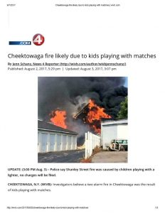 thumbnail of 2017- 08-02 Cheektowaga fire likely due to kids playing with matches _ wivb