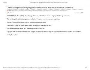 thumbnail of 2020- 01-08 Cheektowaga Police urging public to lock cars after recent vehicle break-ins _ News 4 Buffalo