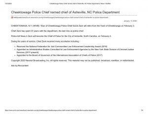 thumbnail of 2020- 01-13 Cheektowaga Police Chief named chief of Asheville, NC Police Department _ News 4 Buffalo